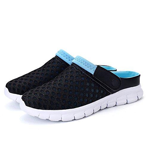 Bwiv Leicht Sommer Clogs Unisex Hausschuhe Sandalen 2 Way Umweltfreundlich EVA Sohle Mit Schuhe Tasche Größenbereich 36 bis 46 Schwarz Und Blau