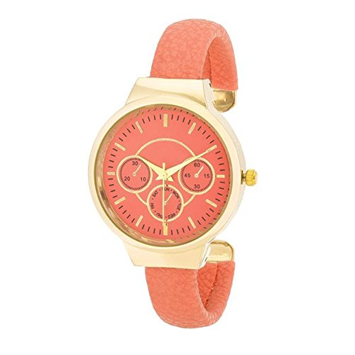 BELOVED SPARKLES - Reya Coral White Snake Skin Leather Cuff Watch (Coral 18k Earrings)