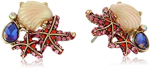 (Betsey Johnson The Sea Starfish and Seashell Cluster Stud Earrings)