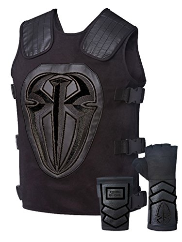 Roman Reigns Tactical Replica Vest Superman Punch Glove Costume-Onyx Black by WWE Authentic
