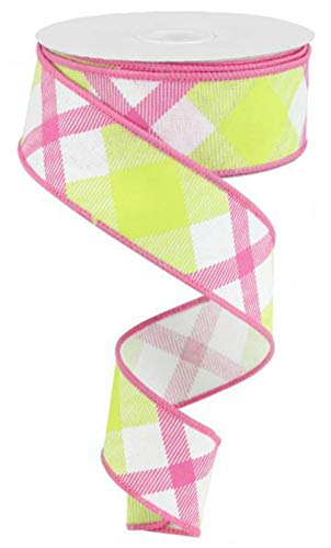 Plaid Canvas Wired Edge Ribbon, 10 Yards (White, Lime, Hot Pink, 1.5)