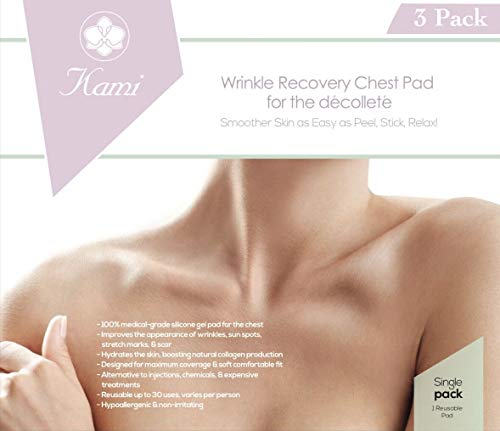 Lifting Cream Decolletage (The Kami Pad Anti-Wrinkle Chest Décolleté Pad - Beauty Mask for Lifting & Hydrating Dry Skin on Chest. Antiwrinkle & Antiaging Repair & Prevention Between Breast Area. Safe Botox Alternative (3 Pack))