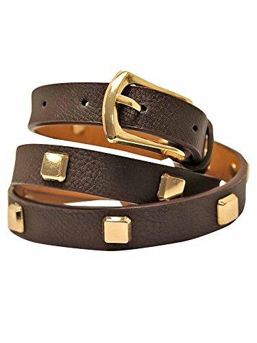 Dark Brown Skinny Dress Belt With Square Gold Studs