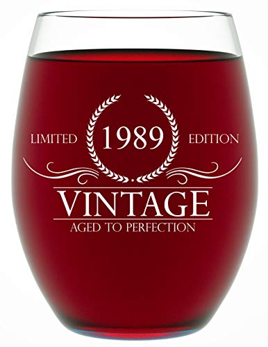1989 30th Birthday Gifts for Women and Men Wine Glass - Funny Vintage Anniversary Gift Ideas for Him or Her, Husband or Wife Wine Glass for Mom 15 OZ - Wine Glass Birthday Gifts -