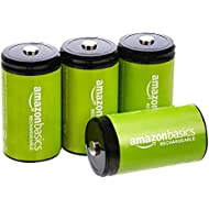 AmazonBasics D Cell Rechargeable Batteries (10000mAh Ni-MH) - Pack of 4