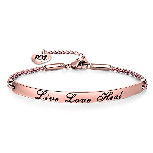 MYOSPARK Nurse Gift Live Love Heal Bracelet RN Jewelry For Nursing Graduation Gift (Rose gold)