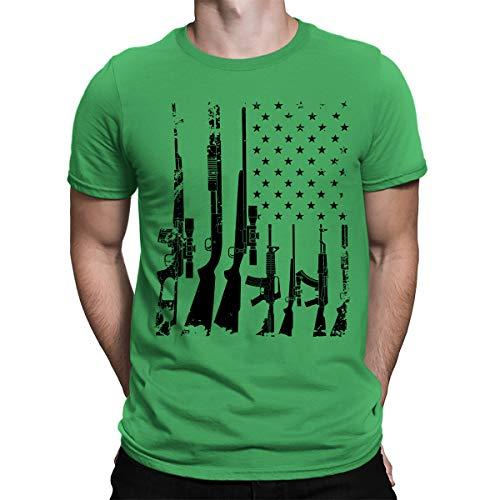 (SpiritForged Apparel Distressed USA Gun Flag Men's T-Shirt, Kelly 3XL)