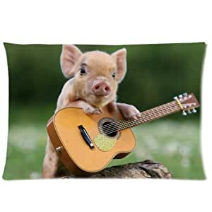 Cotton & Polyester Soft Cushion Throw Case Cute Pig Play The Guitar Pillow Case Cover 20x30 inch (one side)
