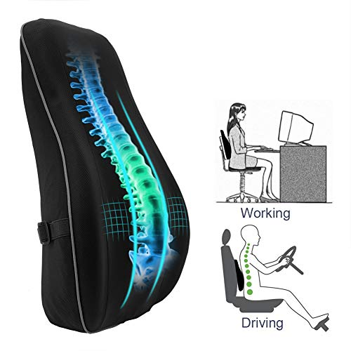 HONGJING Ergonomic Lumbar Support Pillow for Office Chair, Premium Memory Foam Back Cushion for Lower Back Pain Relief, with Breathable Mesh Cover for Car Seat, Wheelchair, Recliner