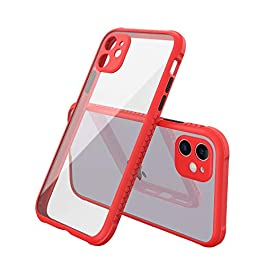 AE Mobile Accessories Back Cover for iPhone 11, Miqilin Series Tranparent Shock Proof Smooth Rubberized Matte Hard Back Case (Red)