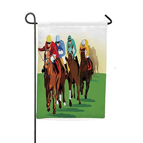 iPrintsophierhome Garden Banner Outdoor Flag Flags,Scene with Jockeys