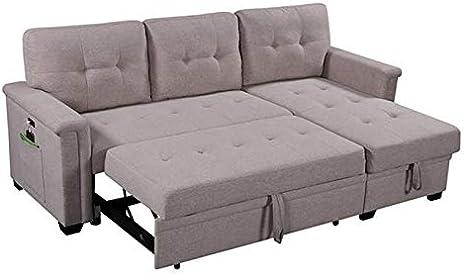 Lilola Home Ashlyn Light Gray Fabric Reversible Sleeper Sofa Usb Charger Storage Chaise Furniture Decor