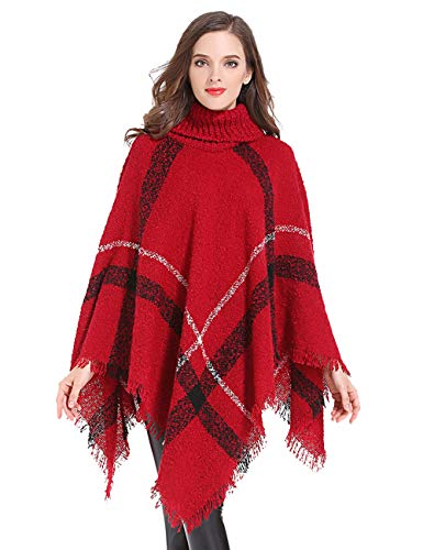 HITOP Womens Dress Ponchos, Boho Loose Tassel Plaid Poncho Turtleneck Jumper Knit Oversized Pullover Sweater Tops for Women ()