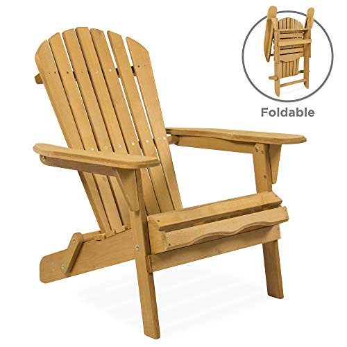 Best Choice Products Folding Wood Adirondack Lounger Chair Accent Furniture for Yard, Patio, Garden w/ Natural Finish, Brown (Chair Outdoor Plastic)