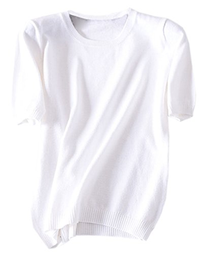 DAIMIDY Women's Short Sleeve Knitted Cashmere T Shirt Blouse Top, White, Tag L = US 6