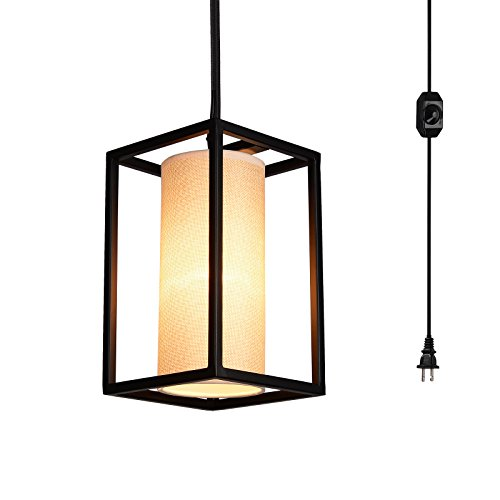 (Creatgeek Plug-In Modern Pendant Light with Natural Linen Drum Shade, 15'Cord and In-Line On/Off Dimmer Switch, Black Finish Style)