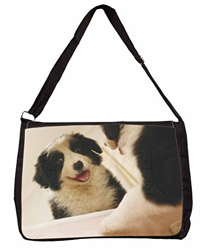 Border Collie in Mirror Large 16 Black School Laptop Shoulder Bag F3rgyT2zx