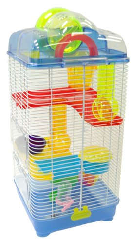 YML 3-Level Clear Plastic Dwarf Hamster Mice Cage with Ba...