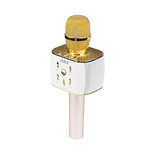 [Upgraded] VERKB Wireless Karaoke Microphone with Speaker Pro, 3-in-1 Protable Bluetooth KTV Karaoke Machine for Apple Android Smartphone, Gifts for Kids, Birthday, Valentine's Day(Light Gold)