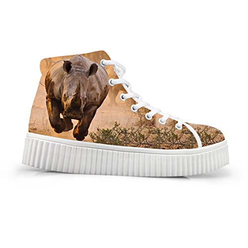 Hugs Idea 3D Animal Printed Fashion Lace Up Sneakers Platform Wedge Walking Shoes Us10