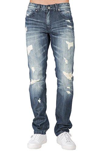 Level 7 Mens Slim Tapered Leg Premium Denim Jeans Medium Stone Destroyed Mended