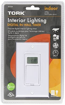 Tork SS720A - 24 Hr or 7 Day Digital In-Wall Timer - White