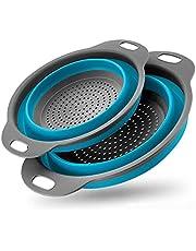Opvouwbare Vergiet Set Siliconen Keuken Opvouwbare Filter Vergiet Vaatwasser Afvoer Groente- En Pasta Veilig (2 Stuks)- blue
