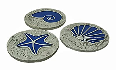 Zeckos 3 Piece Blue Seashell Beach Stepping Stone/Wall Hanging Set