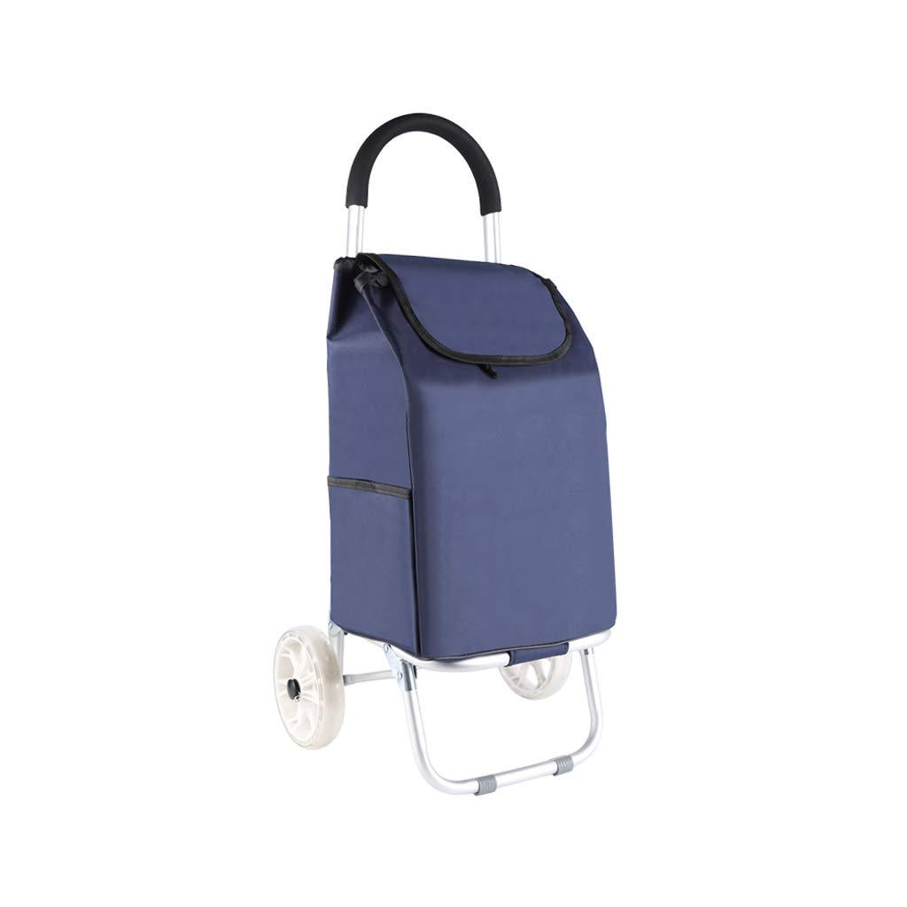 アルミニウム製のショッピングカート小型プル型カート折りたたみ式ハンドカート (色 : 青) B07HQPJ1S2 青