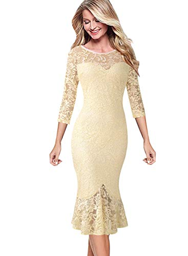 VFSHOW Womens Elegant Floral Lace Cocktail Party Mermaid Midi Mid-Calf Dress 1706 YEL XL (Lace White Elegant Dress With Floral Details)