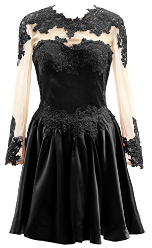 Homecoming Short Dress Illusion Lace Formal Macloth Sleeves Prom Gown Long Party Black xfUFUnqX