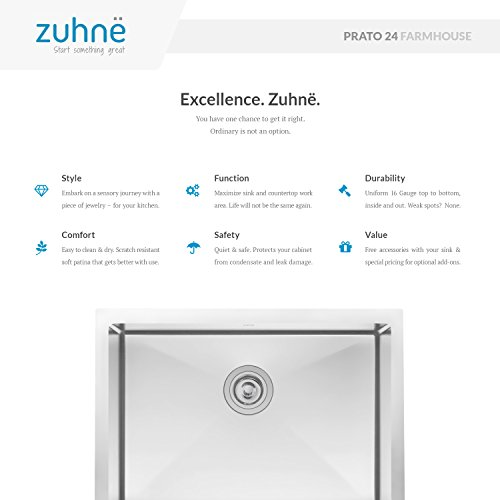 Zuhne 24 Inch Farmhouse Apron Deep Single Bowl 16 Gauge Stainless Steel Luxury Kitchen Sink by Zuhne (Image #1)