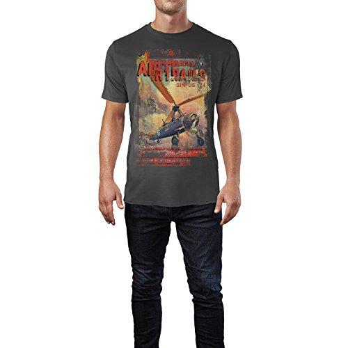 SINUS ART® Air Trails Herren T-Shirts stilvolles rauch graues Fun Shirt mit tollen Aufdruck