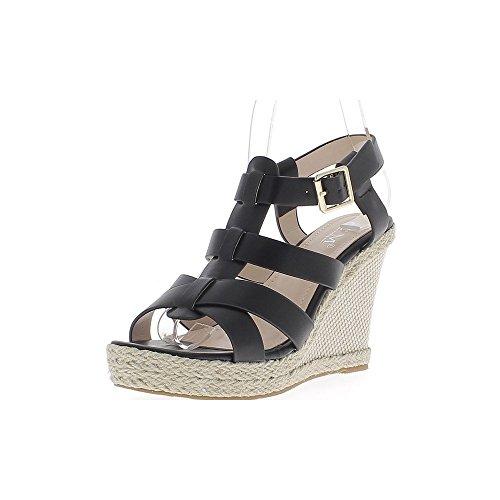 Sandalias negras con plataforma de 10.5 cm de yute de talones con bridas de ancho