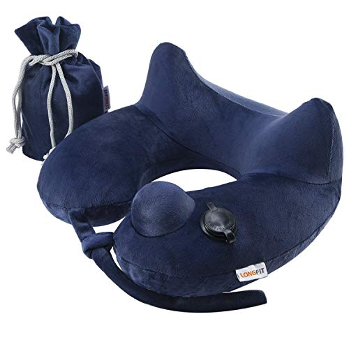 Longfit Soft Velvet Inflatable Travel Neck Pillow with Built-in Pump, Extra-Soft Washable Cover, and Compact Travel Pillow Set for Airplane,Traveling and All Kinds of Relax.