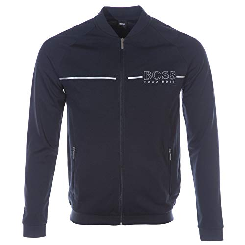 BOSS Tracksuit College Jacket Sweat Top in Navy & Silver