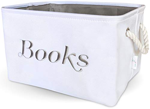 Books Basket, Storage & Organizer Bin for Kids, Baby. White Canvas Fabric Decorative Box with Gray Embroidering. ()
