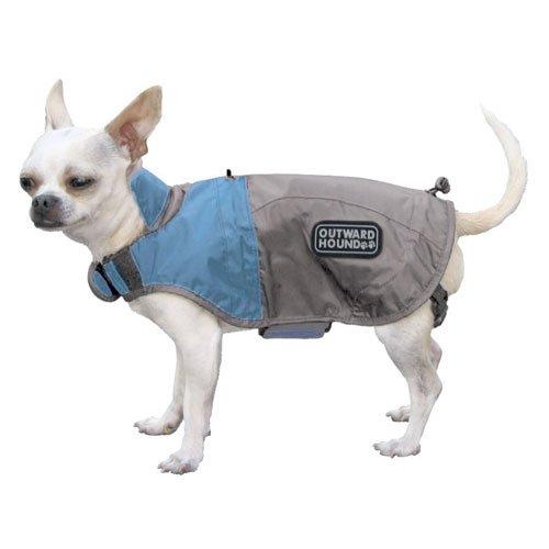 Outward Hound Kyjen   Designer Dog Rain Jacket, X-Small, Ice Blue and Elephant