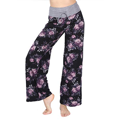 HIGHDAYS Pajama Pants for Women Floral Print Palazzo Pants Comfy Casual Lounge Pants with Wide Leg & Drawstring (M, Purple Flower)