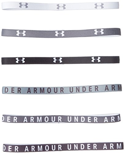 Under Armour Womens Graphic Mini Headbands - 6 Pack, Charcoal (019)/White, One Size Fits All
