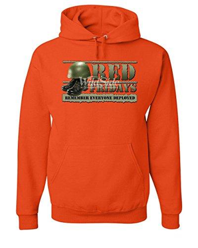 Red Fridays Remember Everyone Deployed Hoodie Support US Troops Sweatshirt Orange S