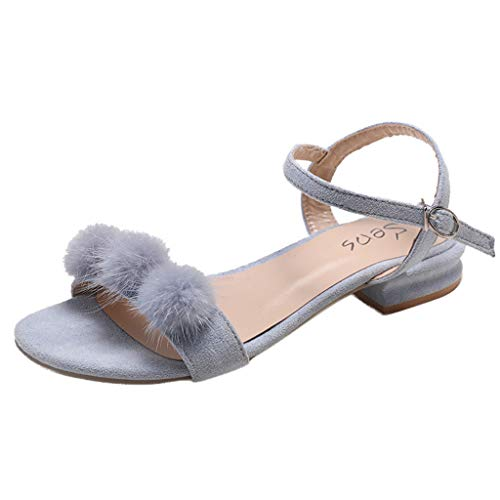 Womens Sandal,2DXuixsh Fashion Sandals Faux Fur Balls Comfort Shoes Casual Lady Outdoor Slippers Low Heel Sandals Shoe Blue