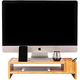 Bamboo Monitor Stand, 2-Tier Monitor Riser with Storage Accessories, Computer Desk Organizer, Office Desktop and Laptop…