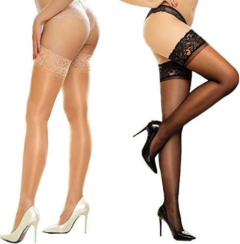 MERYLURE 2 Pairs Sheer Lace Thigh High Stockings Silicone Hold Up Nylon Pantyhose