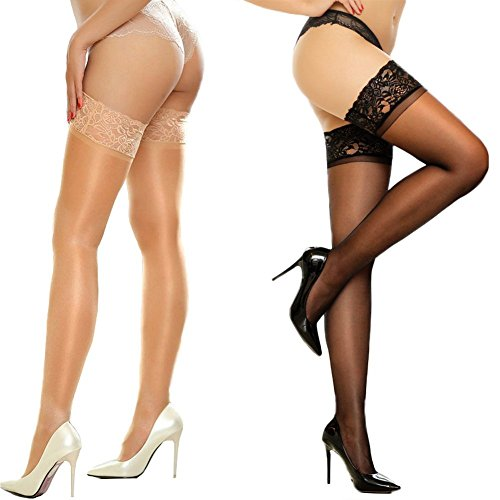 MERYLURE 2 Pairs Sheer Lace Thigh High Stockings Silicone Hold Up Nylon Pantyhose (C/D, 1 Pair Black&1 Pair (Lace Nylon Garter)