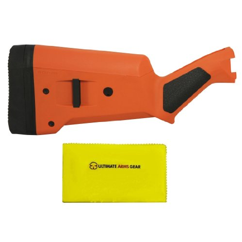 Magpul Industries MAG 460 SGA Hunters Safety Orange Remington 870 12 Gauge Shotgun Buttstock Kit w/ Rubber Recoil Butt Pad + Ultimate Arms Gear Lubricated Cleaning Cloth (870 Mag Remington)