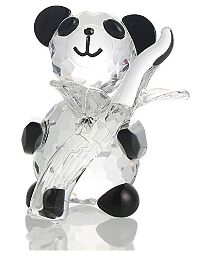 H&D Cute Crystal Glass Panda Figurine with Bamboo for Home Office Decor