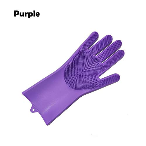 100% Food Grade Dishwashing Gloves Silicon Dishes Cleaning Gloves with Cleaning Brush Kitchen Wash Housekeeping Scrubbing Gloves Purple