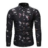 SNOWSONG Mens Dress Shirts Novelty Chained Printed Shirts Long Sleeve T-Shirt Casual Slim Fit Black