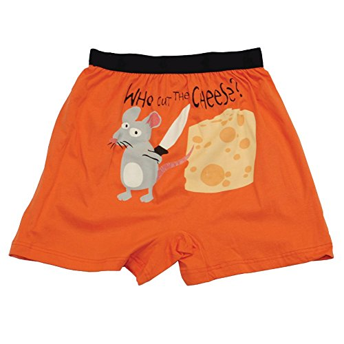 Who Cut The Cheese? Soft Comical Boxers For Men by LazyOne | Animal Pun Joke Underwear For (Guy Boxer Shorts)